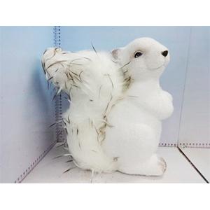 Ardilla de resina blanca con peluche de 31x17x33cm
