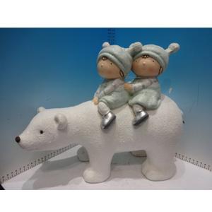 Niños montados en oso polar de 41x17x33cm