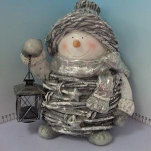 Muñeco de nieve con linterna de 28x23x34cm