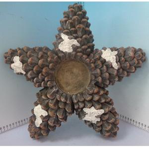 Candelabro de piñas diseño estrella de 41x39x8cm