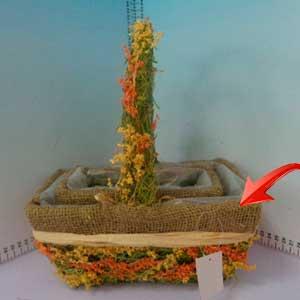 Canasta rectangular con flores de 25x15x9cm