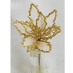 Pick de Nochebuena de gasa con diamantina dorada en la orilla