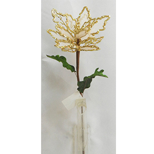 Vara de Nochebuena de gasa con filo diamantado dorado de 80cm