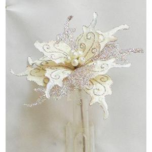 Pick de Nochebuena de terciopelo color crema con diamantina