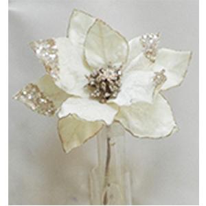 Pick de Nochebuena de terciopelo beige con filo diamantado