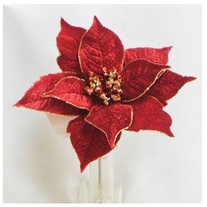 Pick de Nochebuena de terciopelo color vino c/diamantina