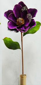 Vara de flor Magnolia morada c/filo dorado de 78cm