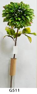Vara de flor Dalia de terciopelo verde c/diamantina de 78cm