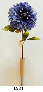 Vara de flor Dalia de terciopelo azul c/diamantina de 78cm