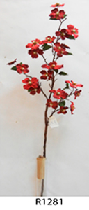 Vara de flor Dalia de terciopelo roja c/diamantina de 78cm