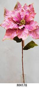 Vara de Nochebuena aterciopelada rosa c/filo dorado de 89cm