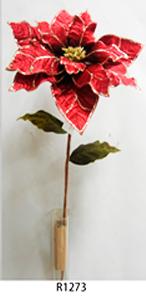 Vara de Nochebuena aterciopelada roja c/filo dorado de 89cm