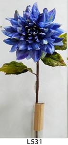 Vara de flor Dalia de terciopelo azul c/filo diamantado de 83cm