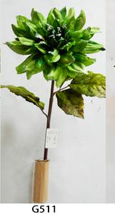 Vara de flor Dalia de terciopelo verde c/filo diamantado de 83cm