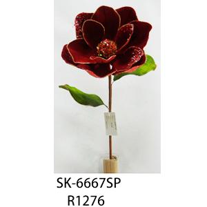 Vara de flor Magnolia de terciopelo roja con diamantina de 78cm