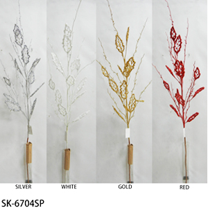 Vara de follaje blanco con hojas, perlas y diamantina de 1.32m