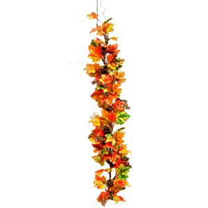Guirnalda de hojas de Maple otoñal de colores con piñas de 1.65 m