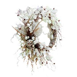 Corona de varas con hojas nacaradas y Perlas de 76x65cm