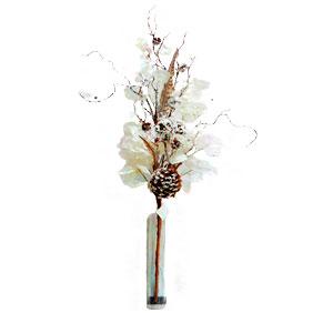 Vara con hojas nacaradas esferas y piñas de 1.12 m