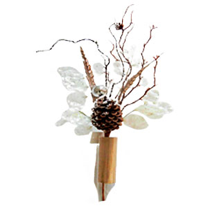 Pick con hojas nacaradas esferas y piñas de 65cm