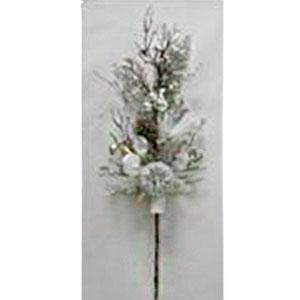 Vara nevada con piñas en color plata de 89cm