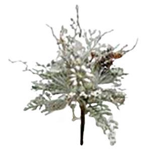 Ramo nevado con piñas en color plata de 48cm