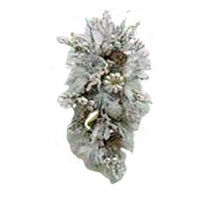 Colgante nevado con piñas en color plata de 81cm