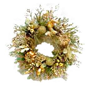 Corona de follaje dorado con Calabazas de 66cm