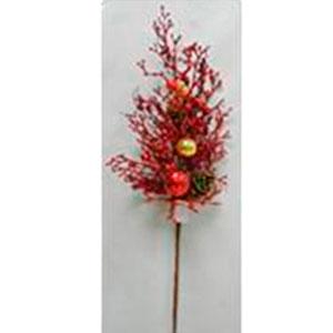 Vara de follaje rojo con piñas y esferas doradas de 94cm
