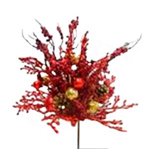 Ramo de follaje rojo con piñas y esferas doradas de 54cm