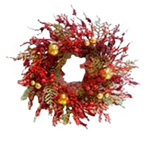 Corona de follaje rojo con piñas y esferas doradas de 61cm