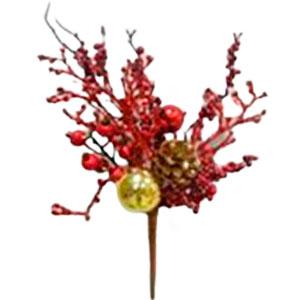 Pick de follaje rojo con piñas y esferas doradas de 38cm
