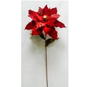 Vara de nochebuena roja con diamantina de 100cm