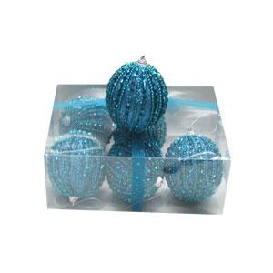 Caja con 6 esferas azul turqueza c/perlas de 10cm