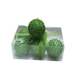 Caja con 6 esferas verde manzana con perlas de 10cm