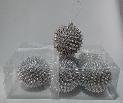 Juego de 6 esferas diseño picos plateadas de 10cm