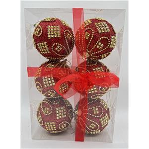 Juego de 6 esferas rojas c/cuentas doradas de 10cm
