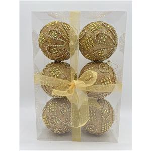 Juego de 6 esferas doradas c/cuentas doradas de 10cm
