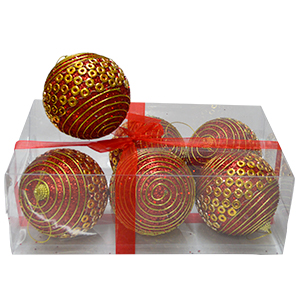 Juego de 6 esferas rojas c/líneas y círculos dorados de 10cm