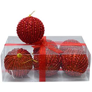 Caja con 6 esferas rojas c/perlas de 10cm