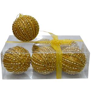 Caja con 6 esferas doradas c/perlas de 10cm