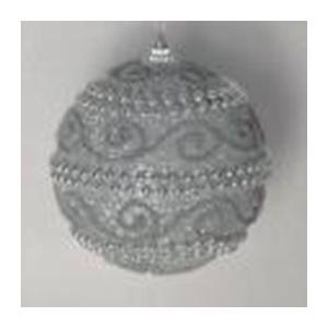 Juego de 6 esferas color plata c/perlas y grecas de 10cm