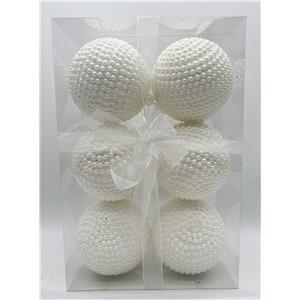 Juego de 6 esferas forradas de perlas blancas de 10cm