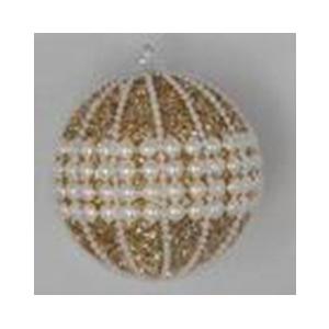 Juego de 6 esferas doradas con perlas de 10cm