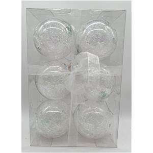 Juego de 6 esferas transparentes con biruta nacarada de 10cm