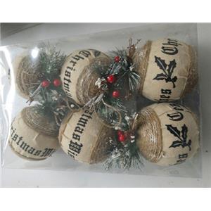 Juego de 6 esferas forrada de tela con cerezas  de 10cm