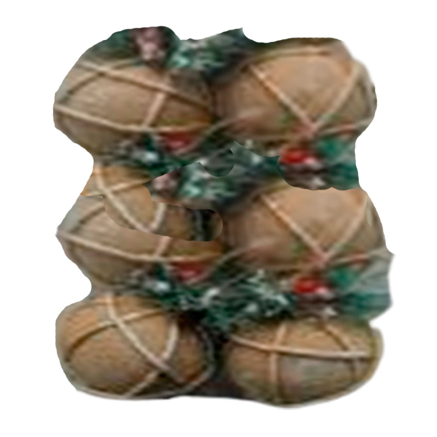 Juego de 6 esferas cafés con laso y piñas de 10cm