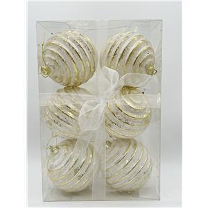 Juego de 6 esferas blancas con rayas doradas de 10cm