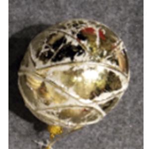 Juego de 6 esferas blancas con rombos dorados de 10cm
