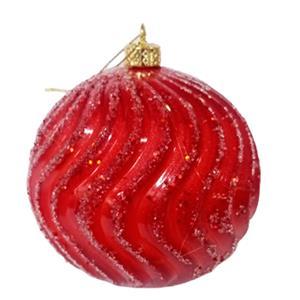 Juego de 6 esferas rojas onduladas de 10cm